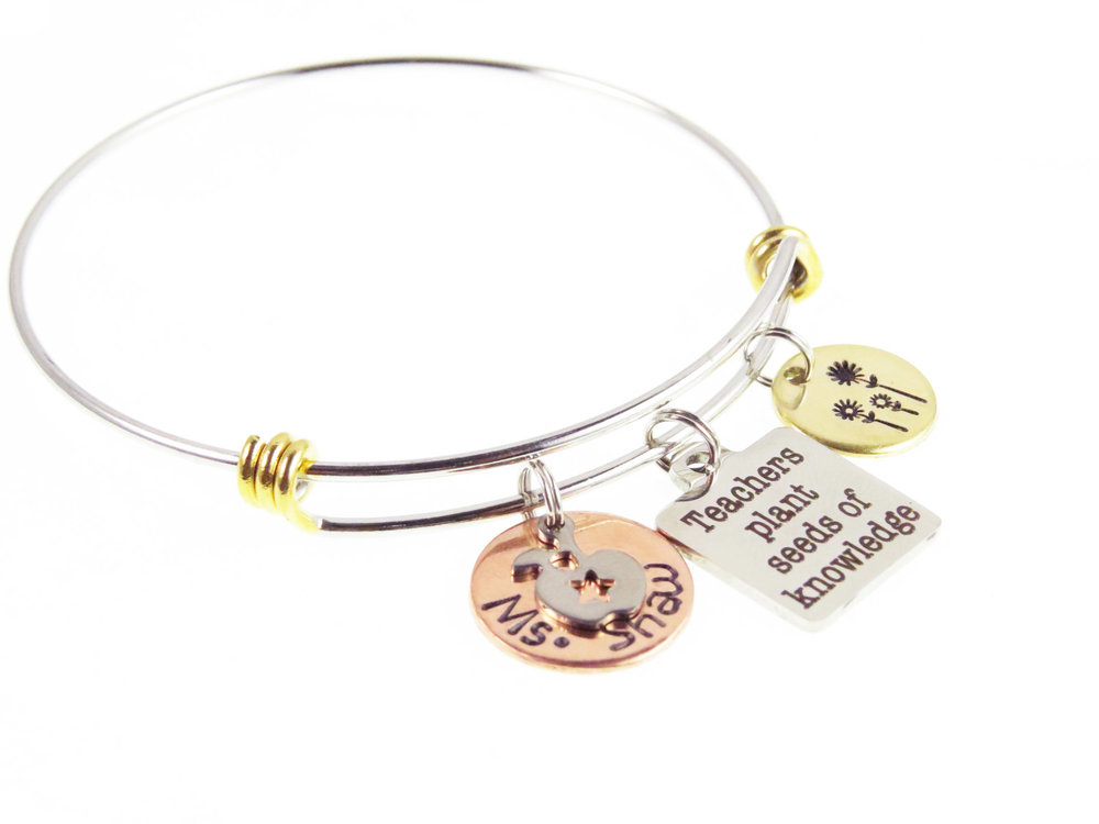 Personalized Teacher Appreciation Bracelet - expressions bracelets