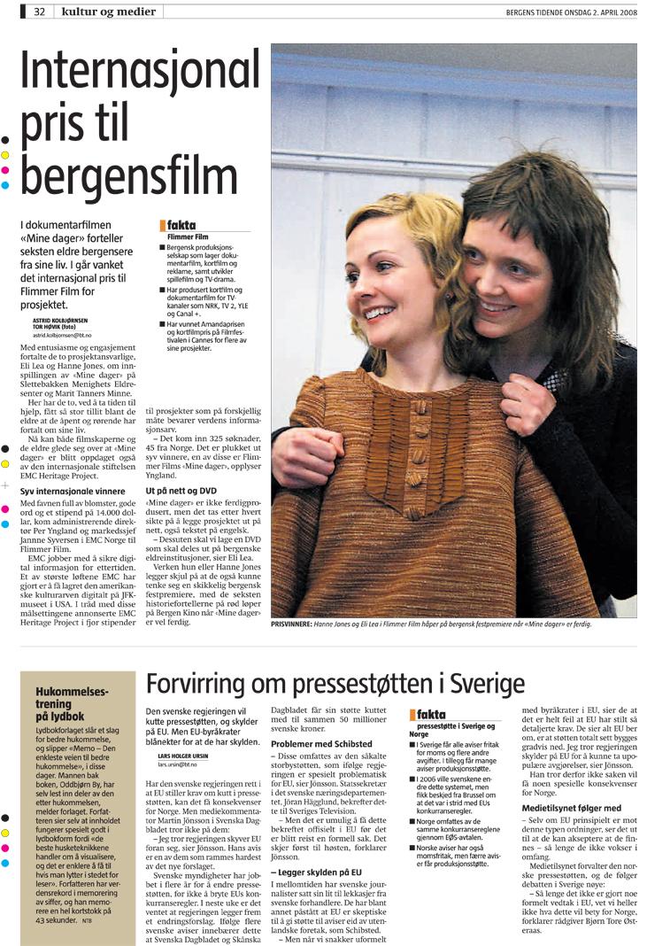 """Bergens Tidende """"Internasjonal pris til bergensfilm"""""""