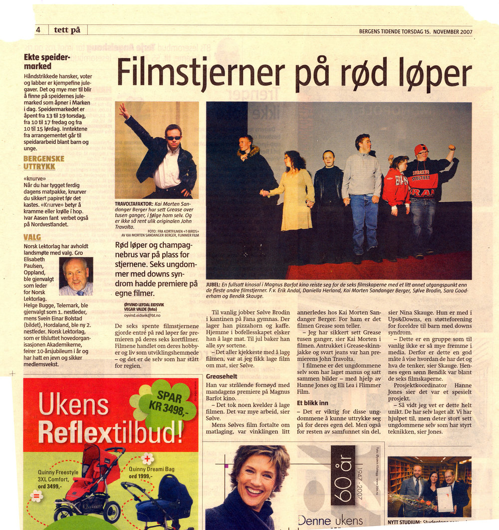 """Bergens Tidende """"Filmstjerner på rød løper"""""""