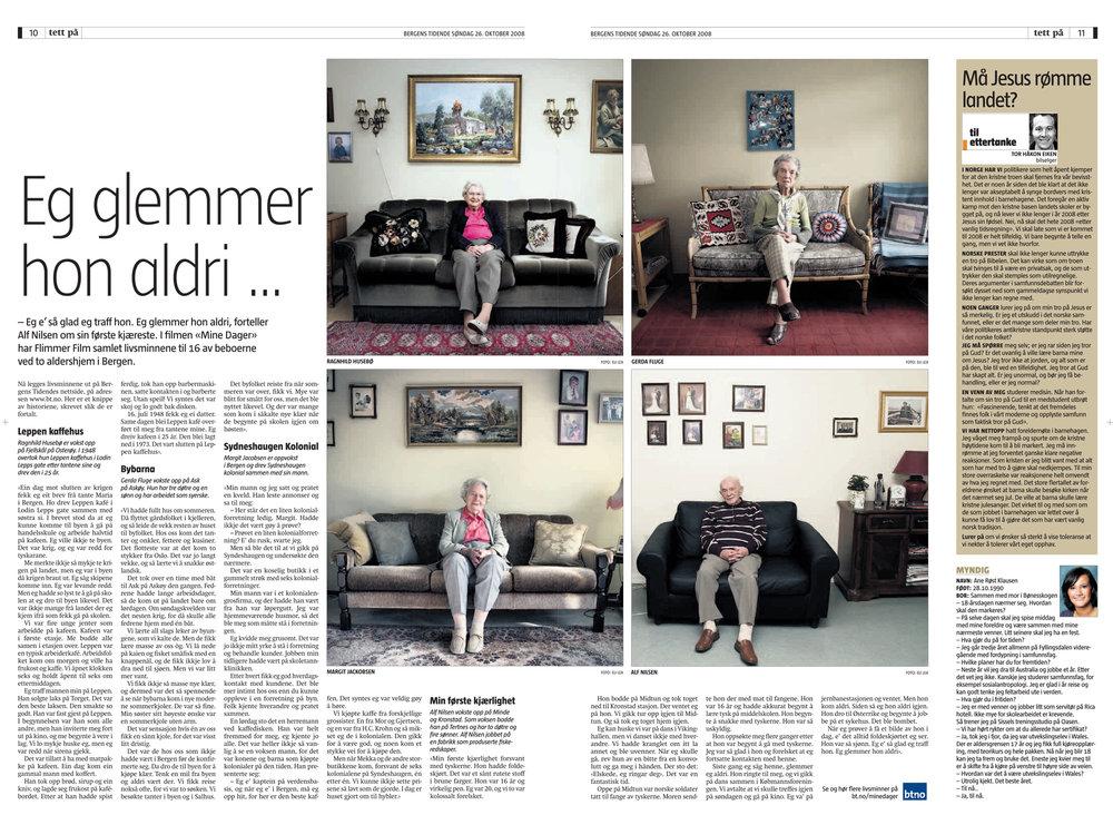 """Bergens Tidende """"Eg glemmer hon aldri"""""""