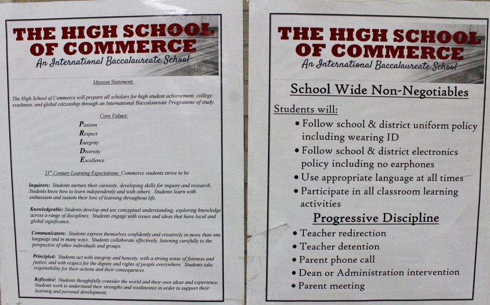"""Follow school & district uniform policy"" is under the High School Of Commerce's ""School Wide Non-Negotiables"""