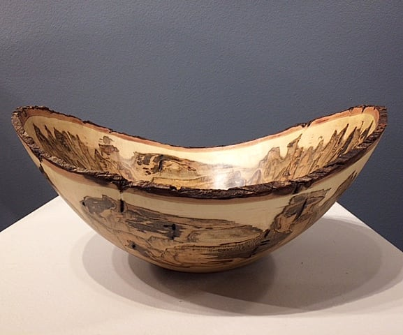 """Some really nice color in this maple log. See more at Ariel Gallery (@ariel.gallery.avl) in downtown Asheville.  Ambrosia Maple  12"""" wide by 5"""" high  stevenoggle.com  #ambrosiamaple #ambrosia #maple #turnedwood #woodworking #wooddecor #homedecor #woodbowl #woodturning #woodwork #woodstudio #turningwood #arielgallery #asheville #northcarolina #nc #ncart #woodart #wooddecor #interiordesign #giftideas #giftsforthehome #artistsofinstagram #followart"""