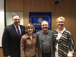 Pictured L to R: Minnetonka Rotary Foundation Chair, Chris Rosenlund; The Dwelling Place Executive Director, Linda Wiza; Minnetonka Rotary President, Lenny Newman; Minnetonka Rotary member, and friend of The Dwelling Place, Stacey Quinn.