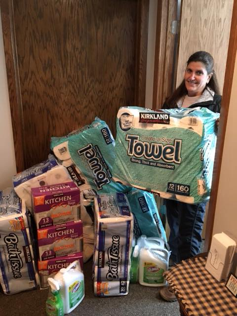 Friend of the ministry, Kalena, with her donations.