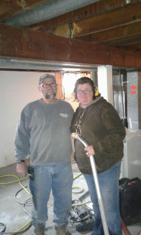 Richard and Mary cut concrete in House #4. Wow! Thank you!
