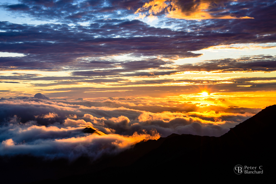 Sunrise from the top of Haleakala (Maui, HI) taken with Nikon D800 and Nikkor 24-85mm.