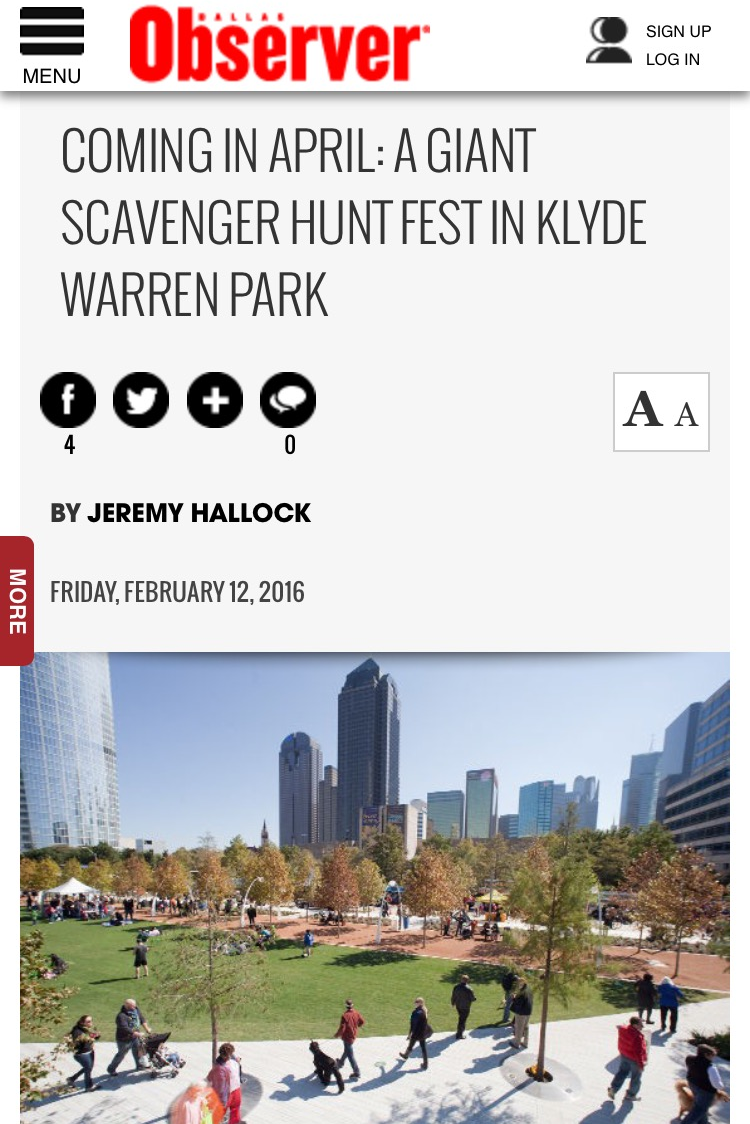 Dallas Observer Article by Jeremy Hallock