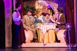 Grace Yoo (second from right) as Minnie Fay in 3D-Theatrical's production of  HELLO DOLLY.