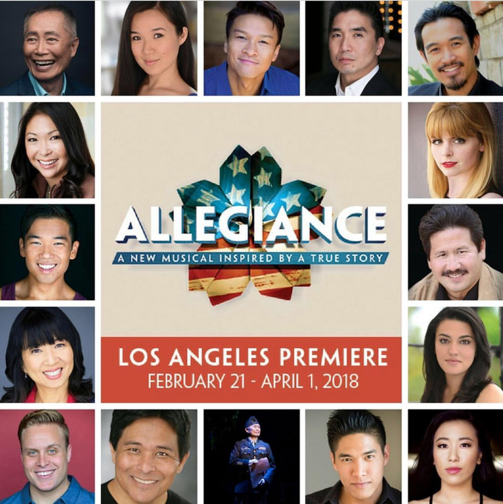 Grace Yoo (bottom right) joins the cast of   ALLEGIANCE   at JACC's Aratani Theatre.