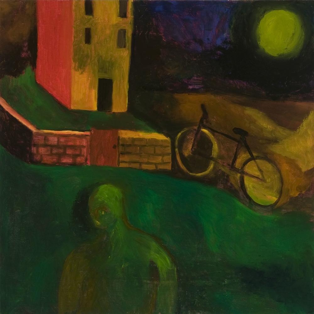 """Bike , 26""""X25"""", Oil on Wood, 2012"""