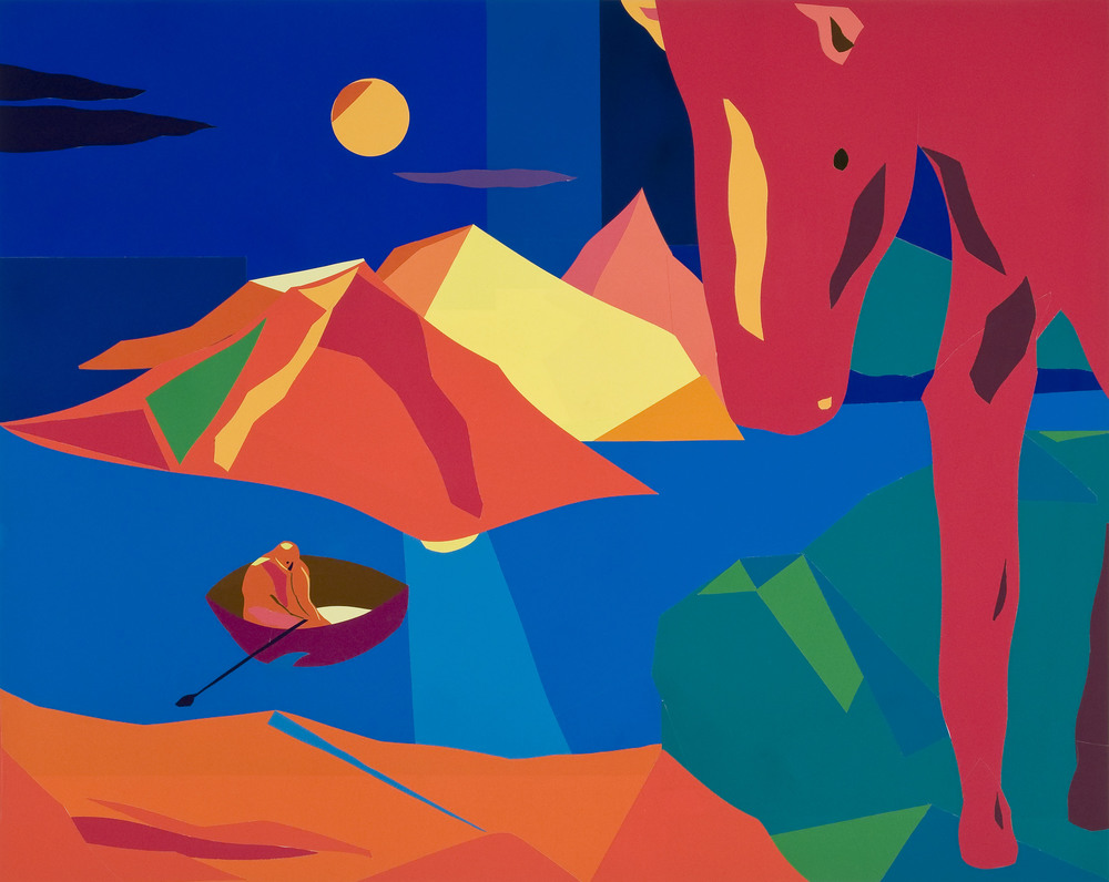 "Horse's Eye , Paper Collage, 60""X39"", 2014"