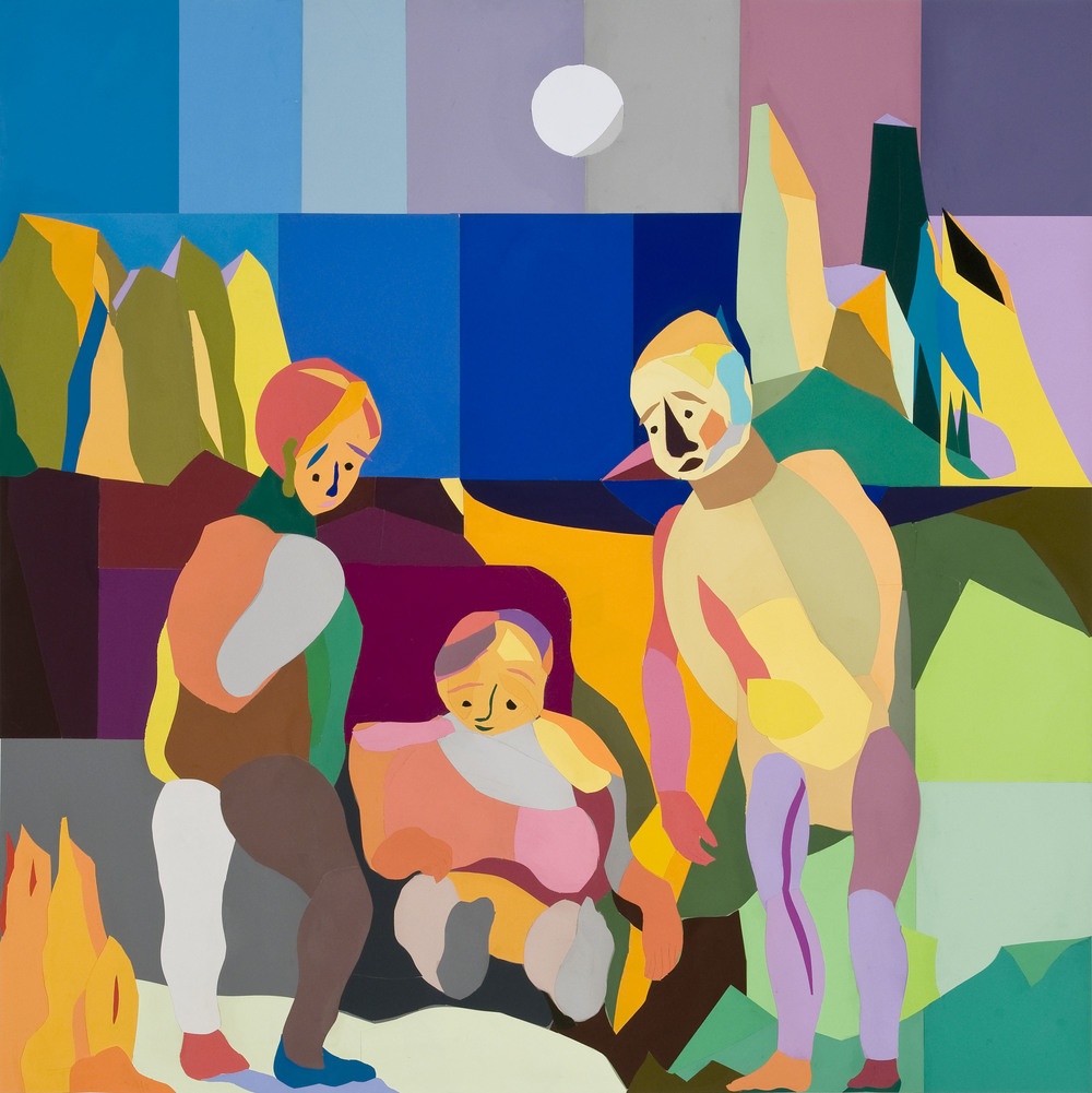 Grouping , Paper Collage on Canvas, 60X60 Inches, 2013