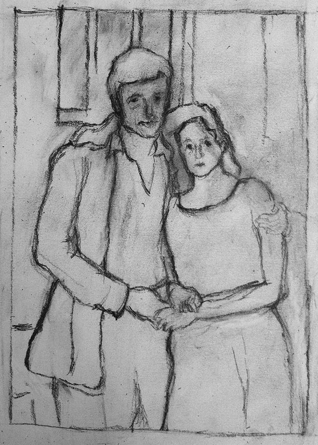 "Israel & Tehila , Pencil on paper, 10x8"", 2014"