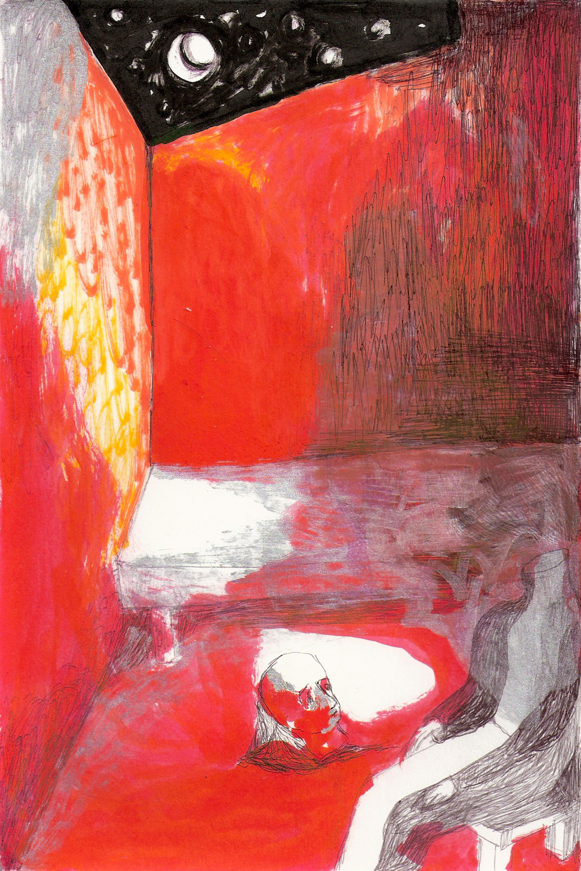 (For Benefit) Dov Talpaz, The Stranger - Last scene, Mixed Media on Paper, 2013.jpg