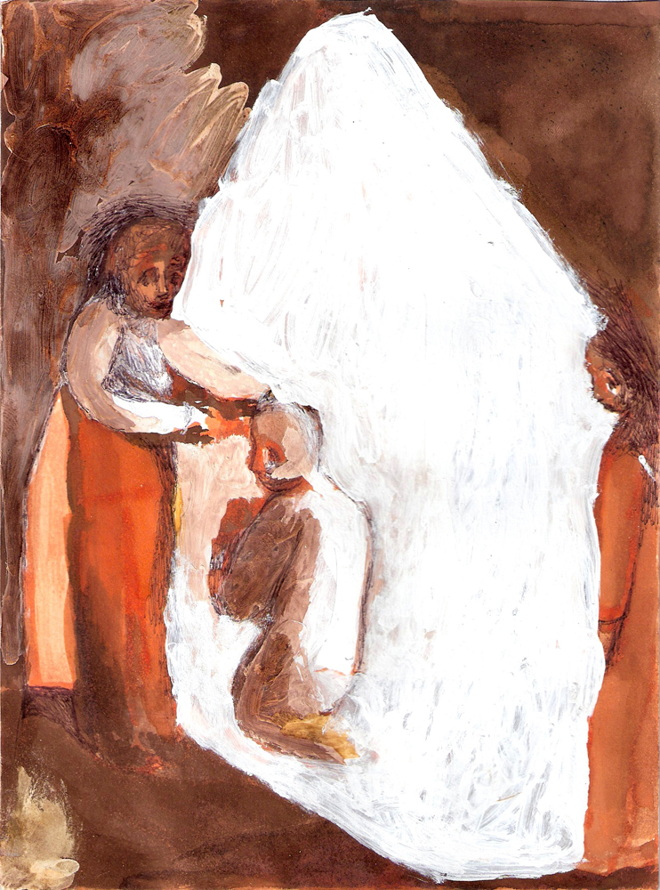 "Convicts Blessed, 9""X6"", Mixed Media on Paper, 2012.jpg"