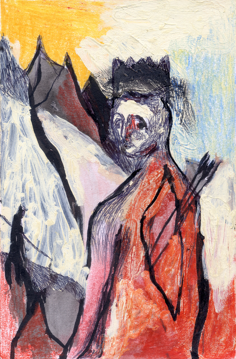 "Hesitation, 9""X6"", Mixed Media on Paper, 2011.jpg"