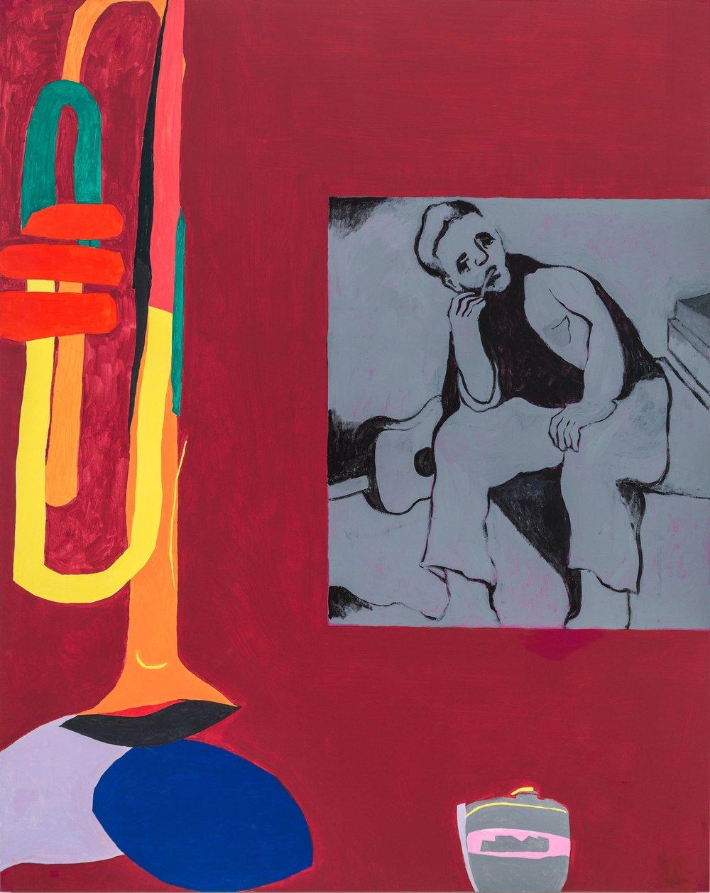 """Improvisation, 2014-16, 60""""x48"""", Latex on wood"""