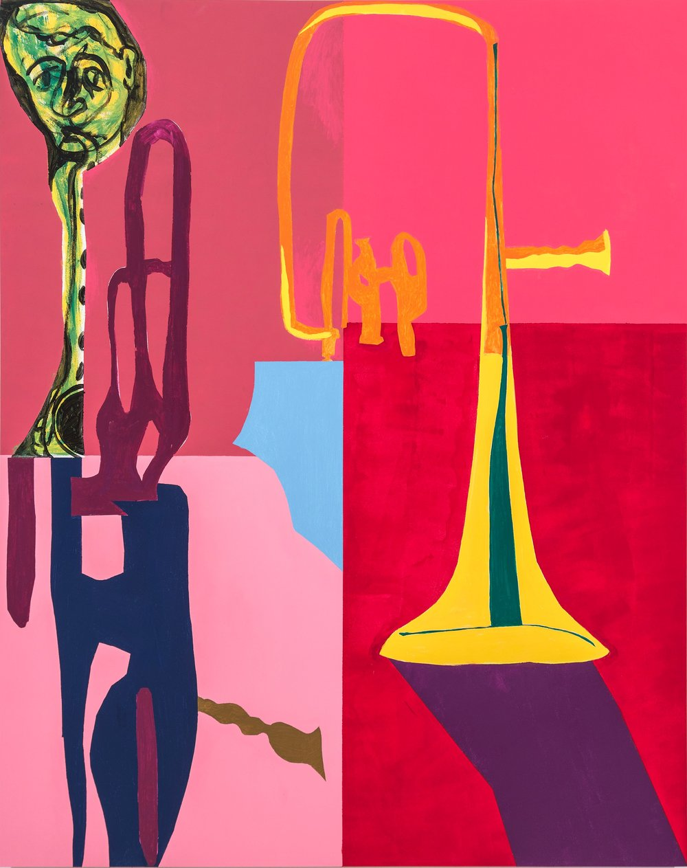 "Trumpet's Shadows , Latex on wood, 60""x48"", 2015"