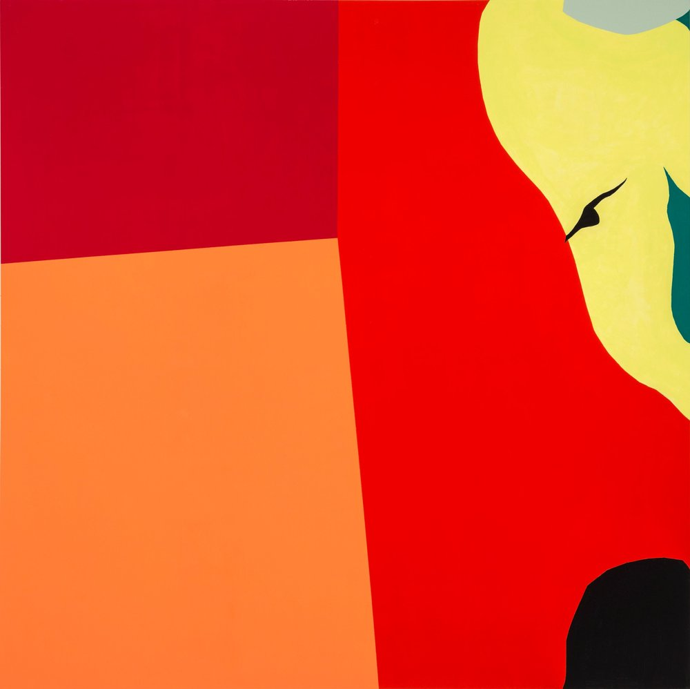 "Red Corner, Latex on wood, 60""x60"", 2014"