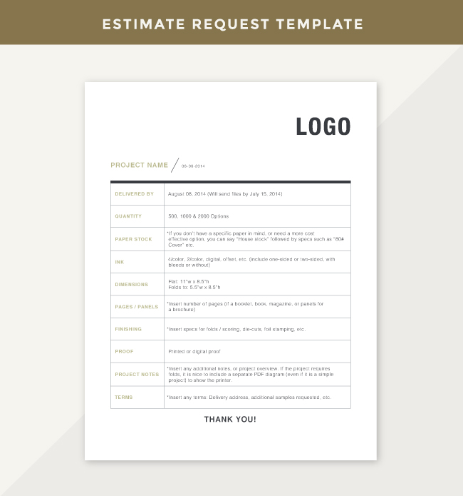 Printer Estimate Request Template