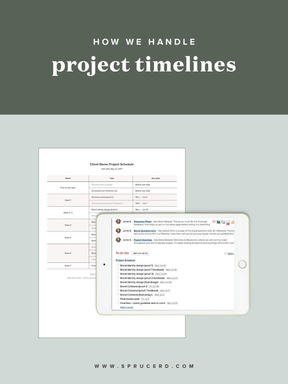 "How we handle project timelines | Spruce Rd. | Maybe you hit your breaking point during your latest client project and asked yourself, ""how can I keep my clients on time with their project?"" You've asked your fellow freelance friends how they handle project timelines, or even took to your design contract to ensure that your late fees are iron clad. No doubt, you've questioned whether you are too much of a people pleaser, or if you should even keep offering design services because it's exhausting keeping your clients in check! You probably feel disrespected and frustrated by the lack of timeliness on your client's end."