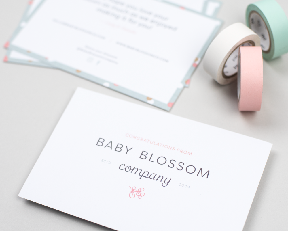 Baby Blossom Company Brand identity, pattern design, packaging tape, stationery view project