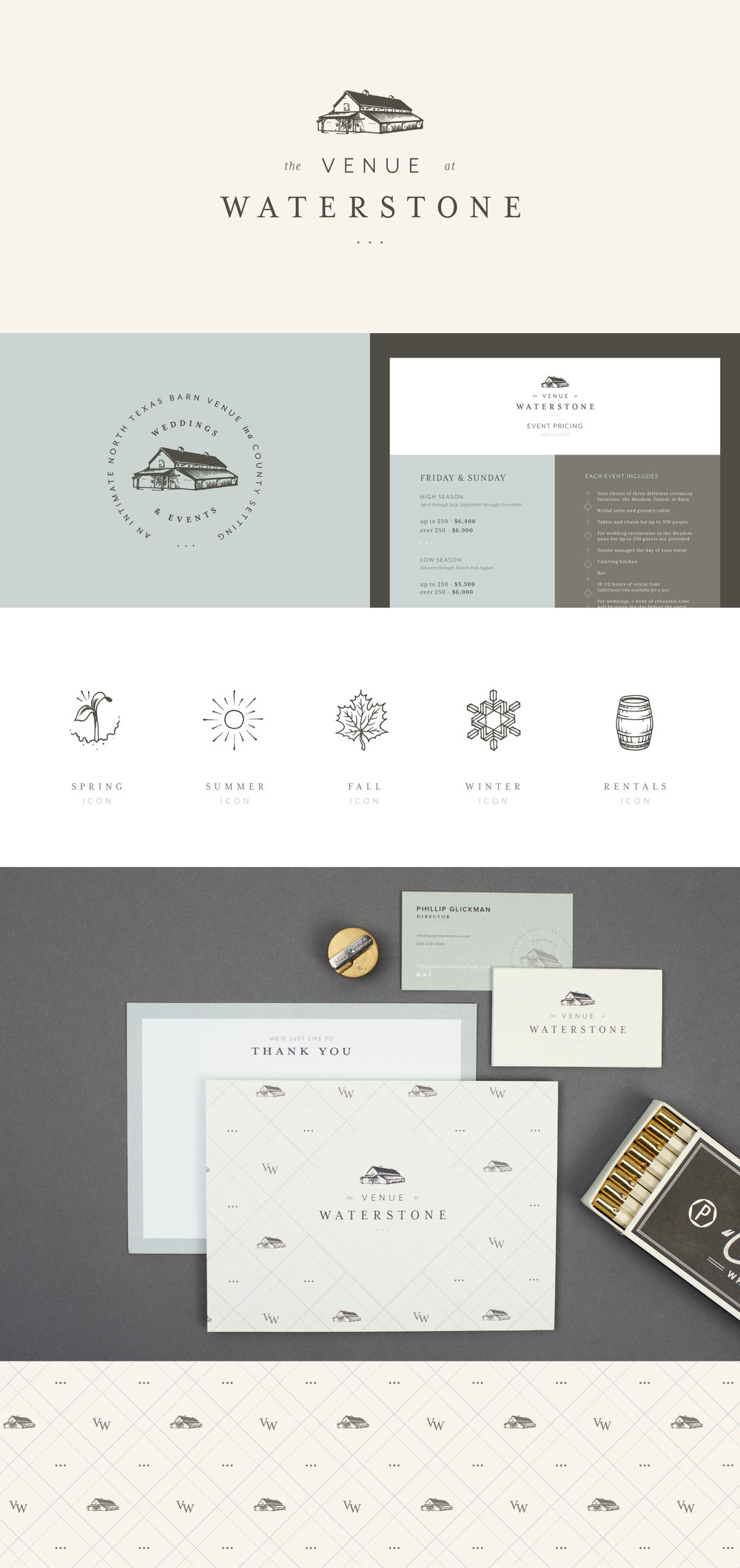 The Venue at Waterstone brand identity | Spruce Rd. | logo design, pattern design, wedding venue, branding, illustration, hand drawn, rustic