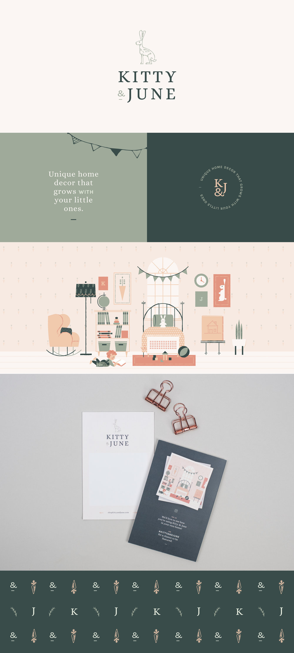 Kitty & June brand identity | Spruce Rd. | logo design, packaging, stationery, children's branding
