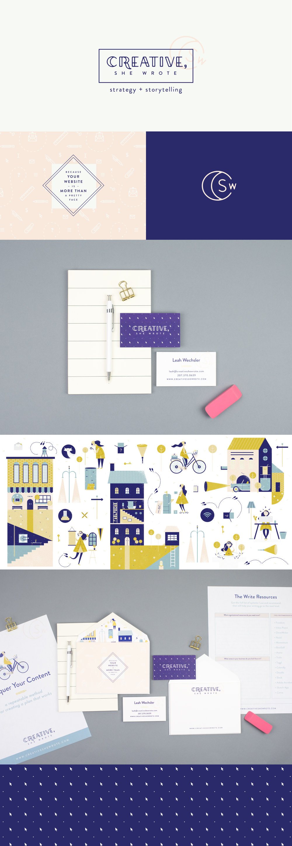 Creative, She Wrote brand identity | Spruce Rd. | logo design, illustration, content marketing, worksheet design, branding, online brand