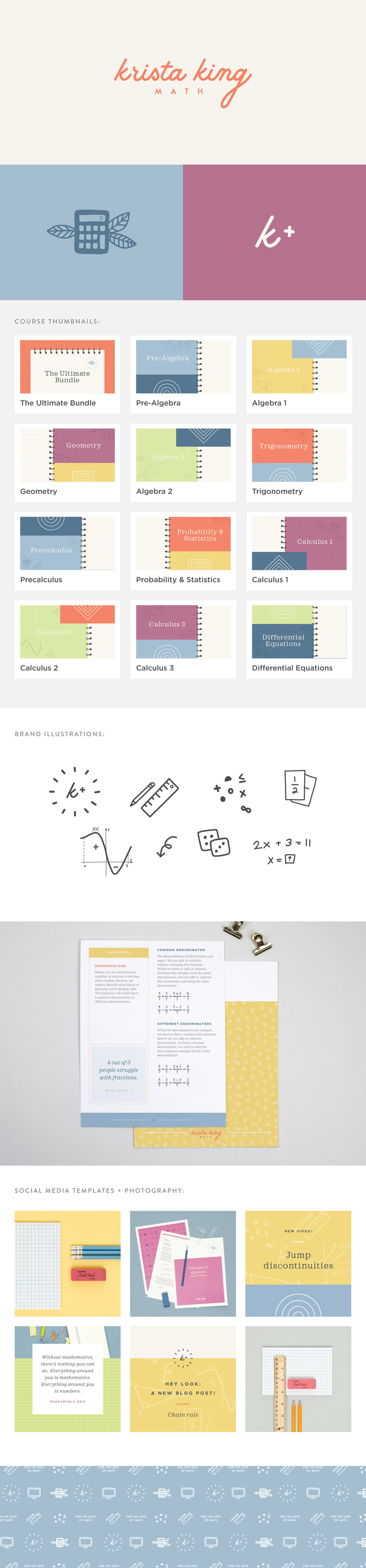 Krista King Math brand identity | Spruce Rd. | logo design, pattern design, online marketing, e-course design, branding, illustration, modern, worksheet design