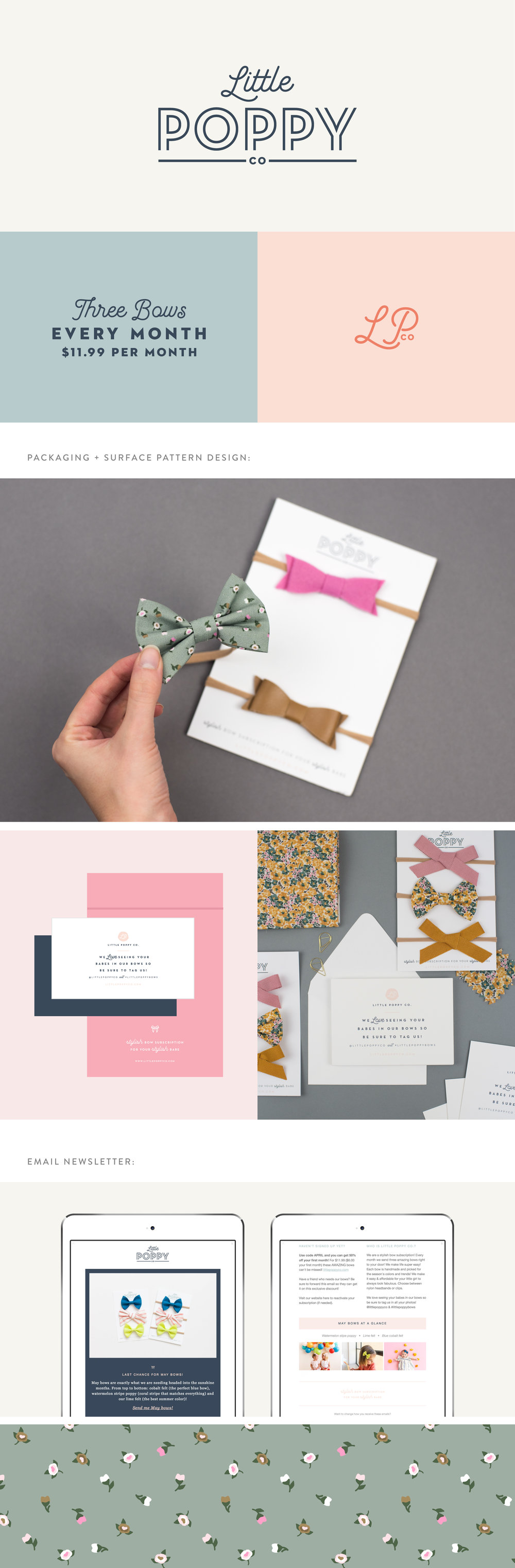 Little Poppy Co. brand identity | Spruce Rd. | logo design, packaging design, surface pattern, bows, baby branding