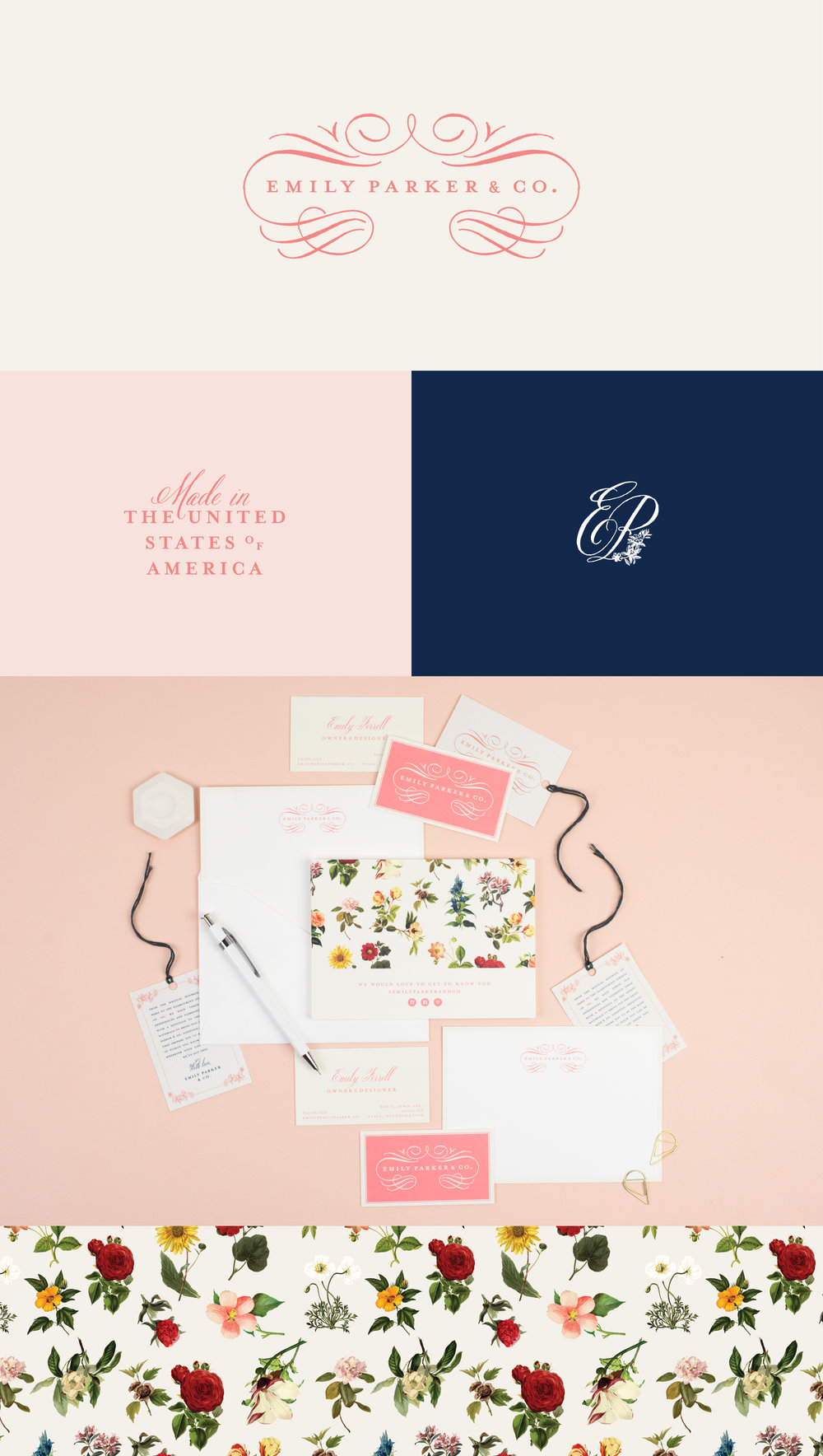 Emily Parker & Co. brand identity | Spruce Rd. | logo design, pattern design, fashion design, branding, timeless, classic, sophisticated, floral