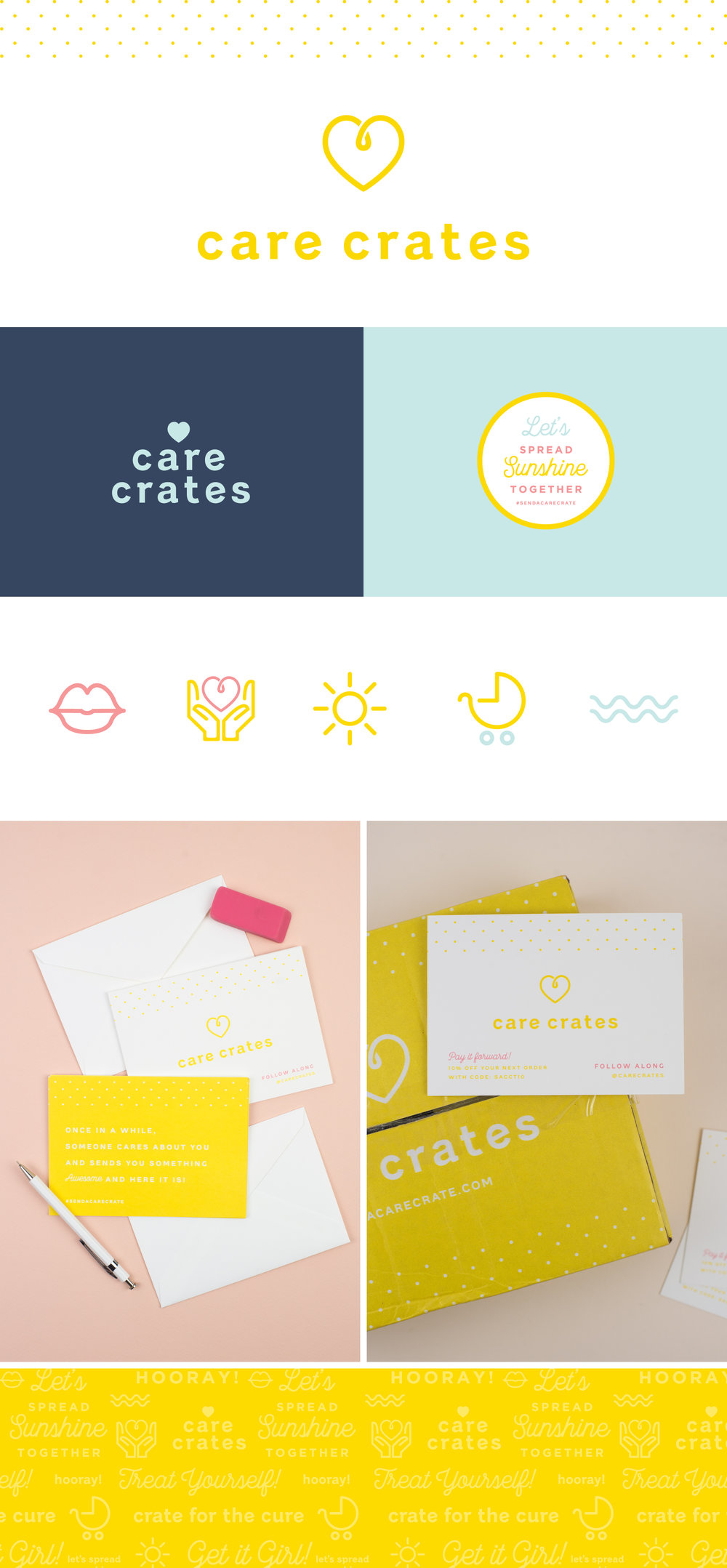 Care Crates brand identity | Spruce Rd. |  logo design, packaging design, playful, whimsical, modern, subscription