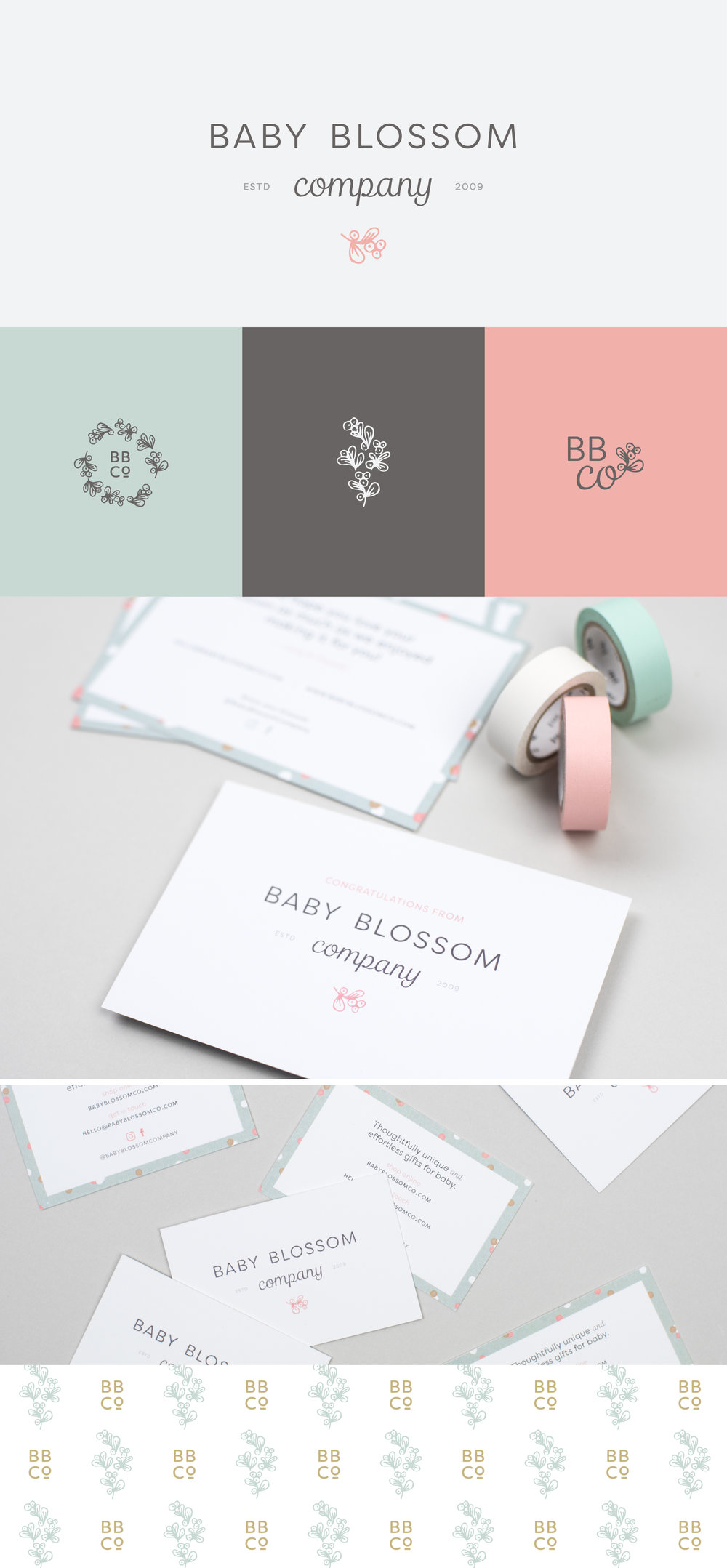 Baby Blossom Company brand identity | Spruce Rd. | logo design, packaging design, pattern, baby branding