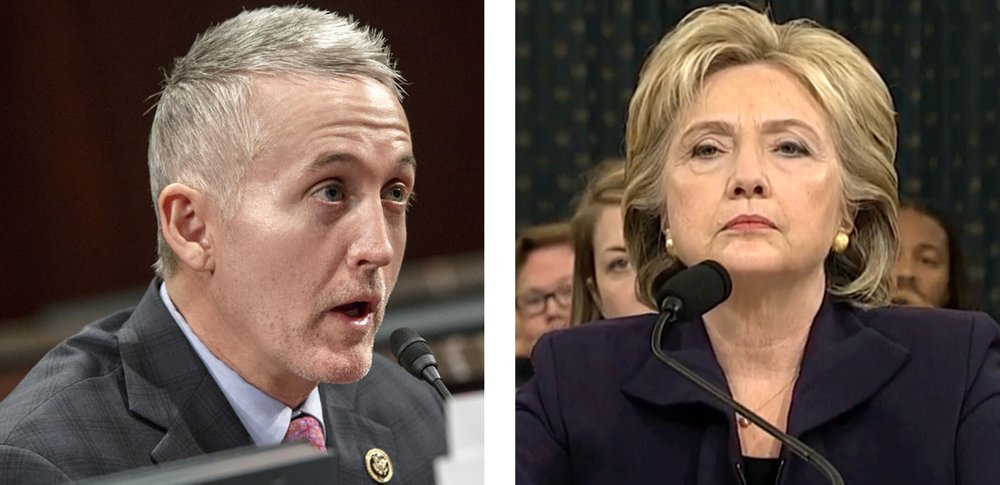Presidential Candidate Hilary Clinton faces hostile interrogators at the November 11, 2015 Benghazi hearing chaired by firebrand Trey Gowdy.  Clinton was not found culpable but not elected, while Congressman Gowdy has recently announced he will not run for reelection to his South Carolina seat.