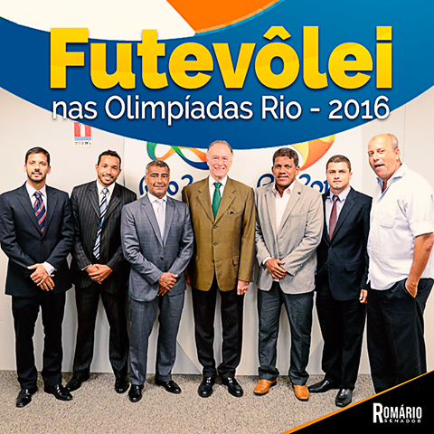 The photo shows seven men standing side by side. At the center, profile Romario and Nuzman.