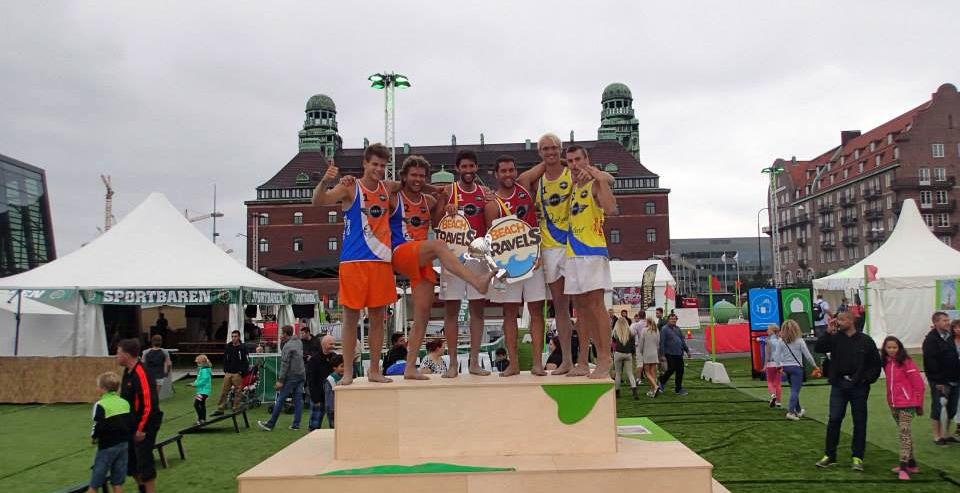 From the podium after the Scandinavian Footvolley Tour final in Malmö in 2013. Spain won with Netherlands on second. James Blondell and Per Ôgren from Sweden came in third.