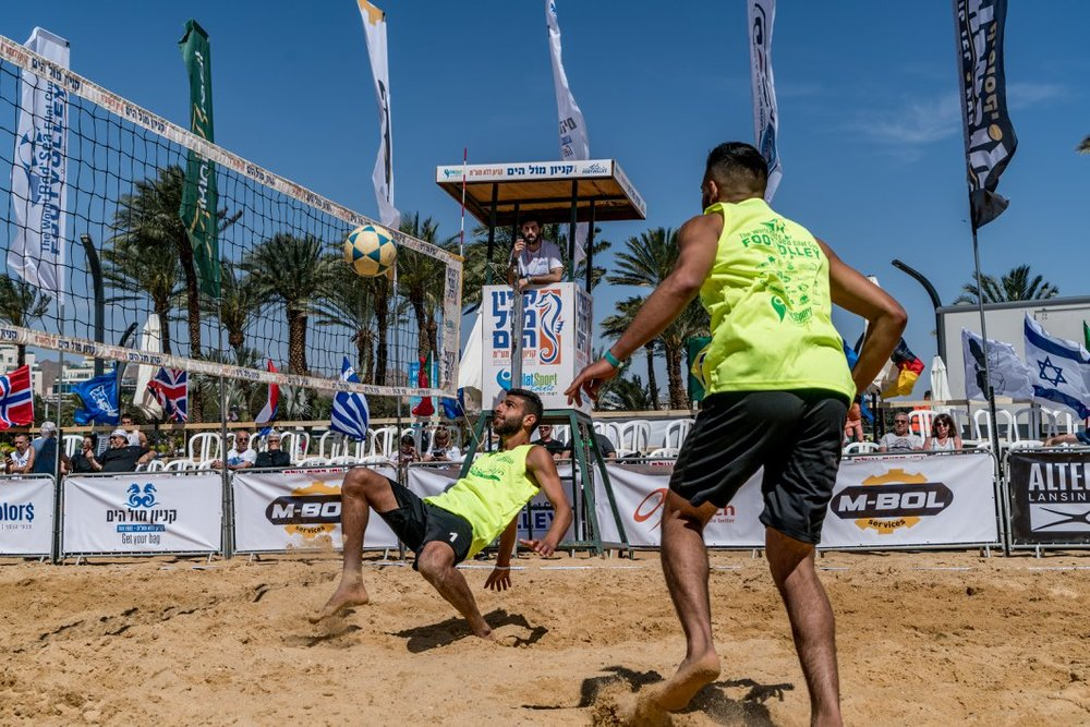 An action shot from the  World Footvolley Tournament in Eilat  2018.