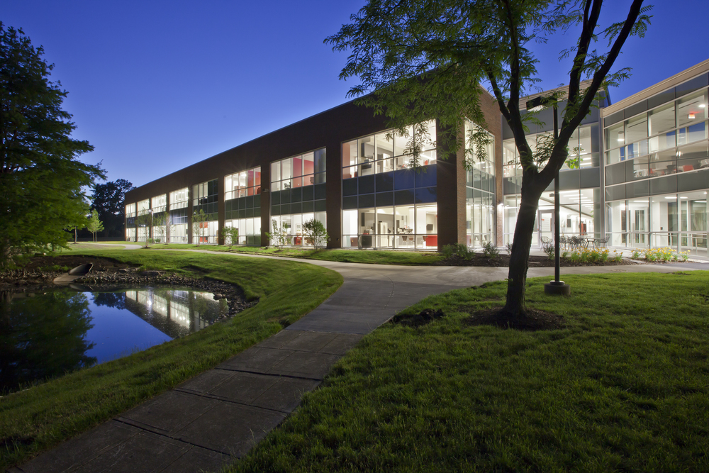 THOMAS CONFERENCE CENTER AND OFFICE BUILDING AT NIGHT