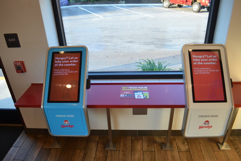 PHOTO OF TWO KIOSKS AT THE WENDY'S FLAGSHIP RESTAURANT IN DUBLIN, OHIO