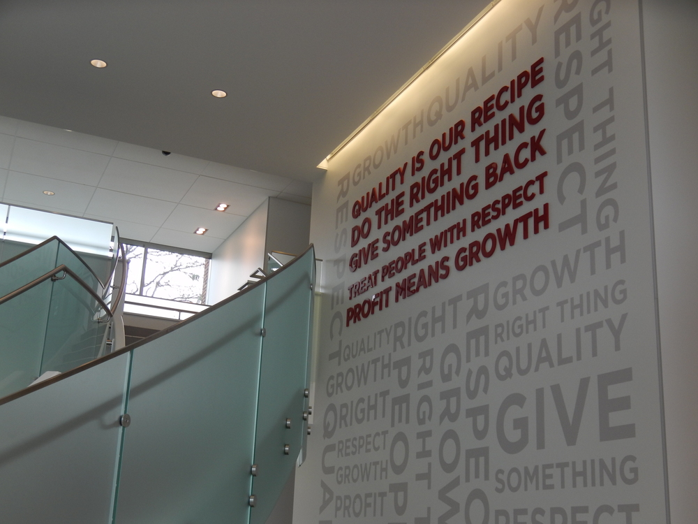 THE VALUES WALL IN THE LOBBY OF OUR SUPPORT CENTER