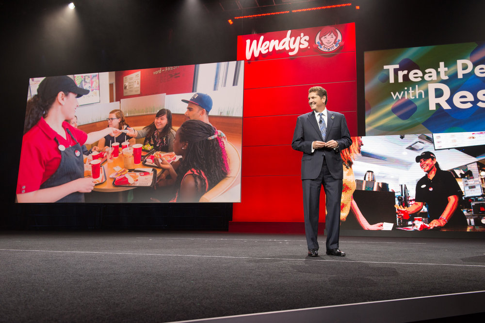 CPO, Scott Weisberg on stage at Wendy's 2015 Franchise Convention in Orlando, Florida