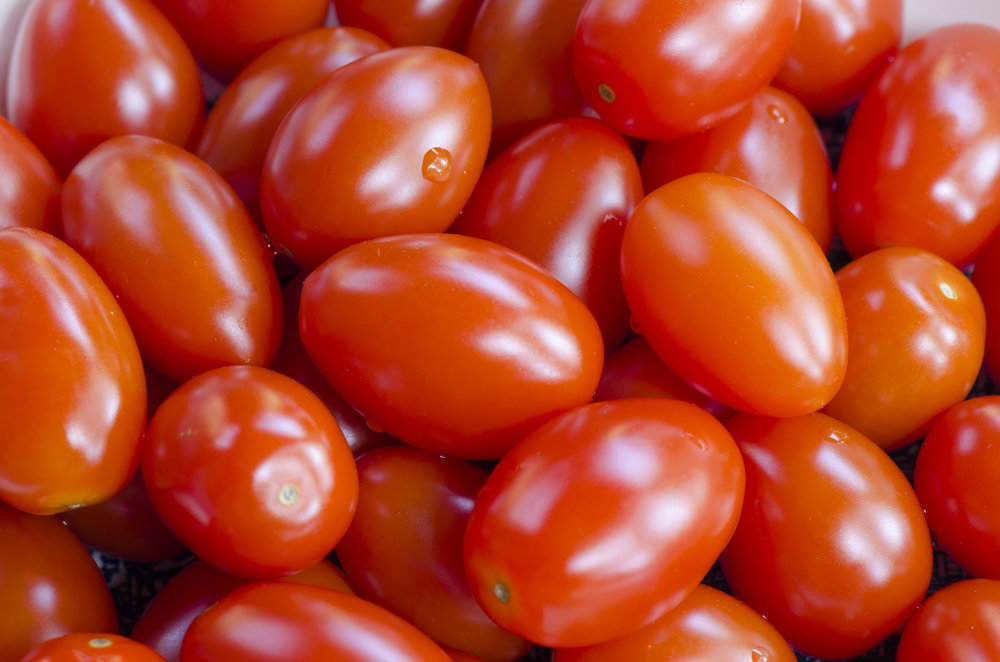 Grape tomatoes...as in the ones used on our side salads.