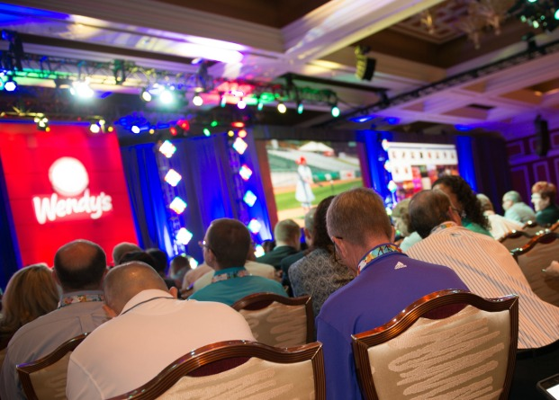 A photo from a general session presentation at the 2016 Wendy's Family Reunion.