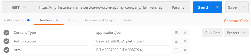 ServiceNow rest api get catalog item variables from ritm over rest
