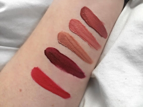 From the top we have: Riot, Nude Thrill, Abu Dhabi, Cherry Skies & Red Velvet