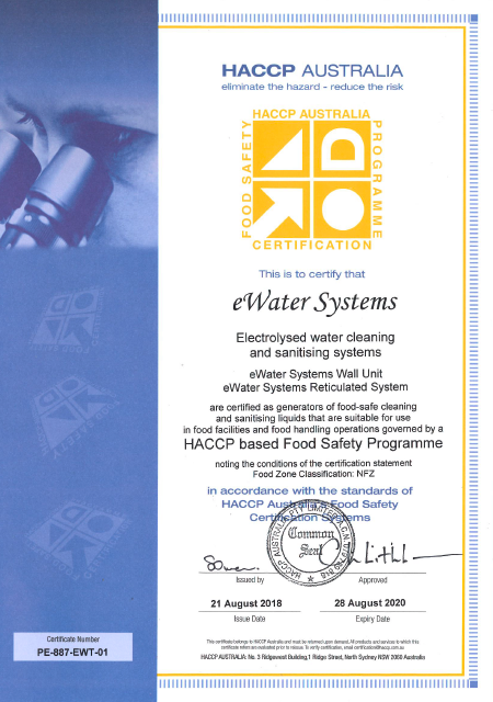 eWater Systems HACCP Certificate