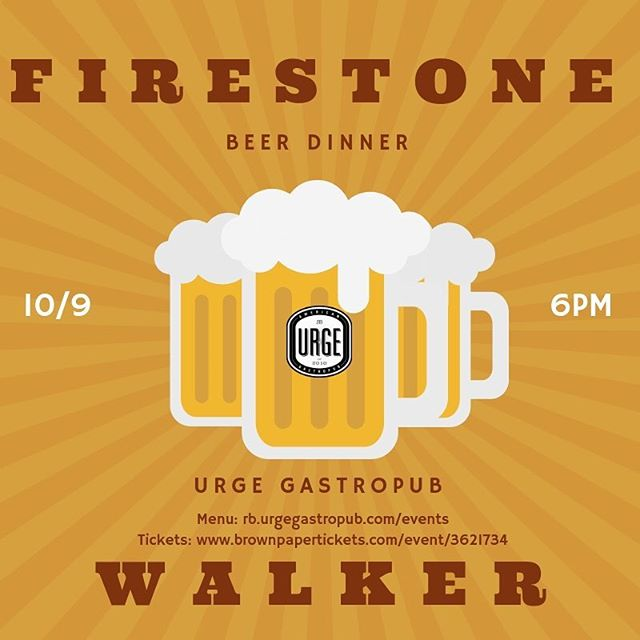 Our Firestone Walker Dinner is ONE week away! We have five delicious #firestonewalker brews four of which Chef Adam is pairing for a fantastic dinner! Link in bio for menu & tix! . . . #urgegastropub #westcoastersd #diningoutsd #dinelocalsd #sdmagazine #beerdinner #chefadam