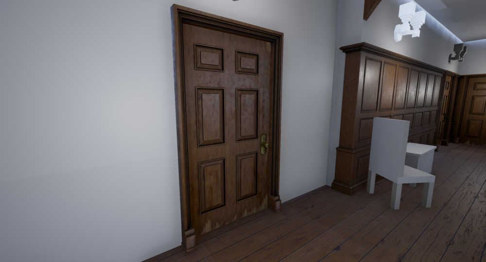 With the door in the scene I now see the wear is over the top and out of place, also the door handle is to reflective making it dark. Also after feedback from my tutor, it may be worth having it a darker shade of colour to the rest of the wood panels.