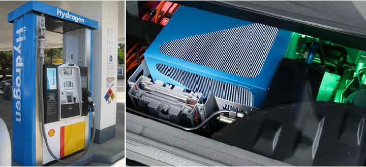 Shell hydrogen dispenser at Newport Beach and the fuel cell stack of a Mercedes –Benz B-Class F-Cell hydrogen car.